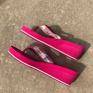 Coach Shoes - Coach platform wedge pink plaid flip flops